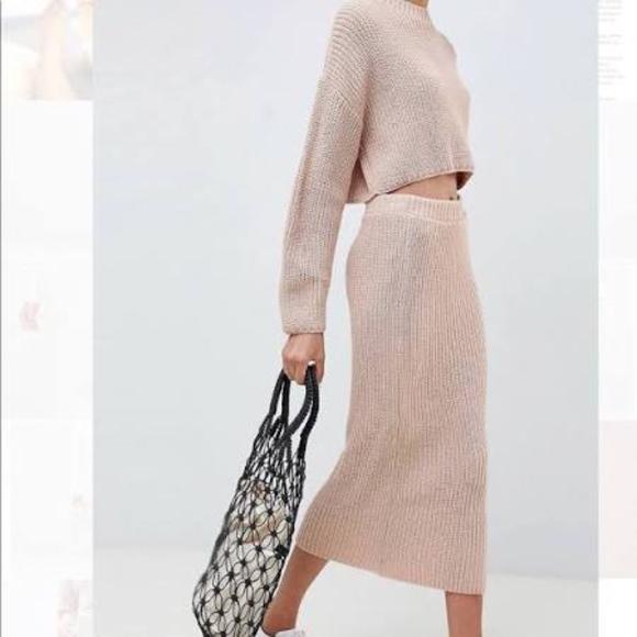 Karen Lessly Dresses & Skirts - KAREN LESSLY Teal Knit Ribbed Midi Tube Skirt